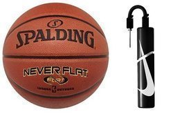Piłka do kosza Spalding NBA NeverFlat indoor/outdoor - 3001530010017 + Pompka Nike Essential