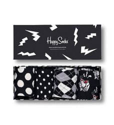 Zestaw skarpetek Happy Socks 4-pak Black and White - XBAW09-9100